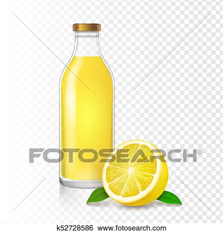 Clip Art - jugo del limón, vidrio, bottle., realista, vector ...