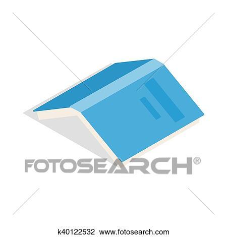 Livre Ouvert A Bleu Couverture Icone Isometrique 3d Style Dessin