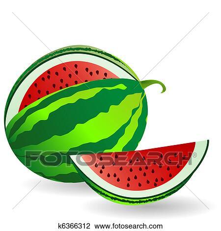Melancia Com Fruta Fatia Desenho K6366312 Fotosearch