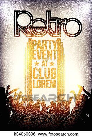 clip art of retro party invitation poster k34050396 search clipart
