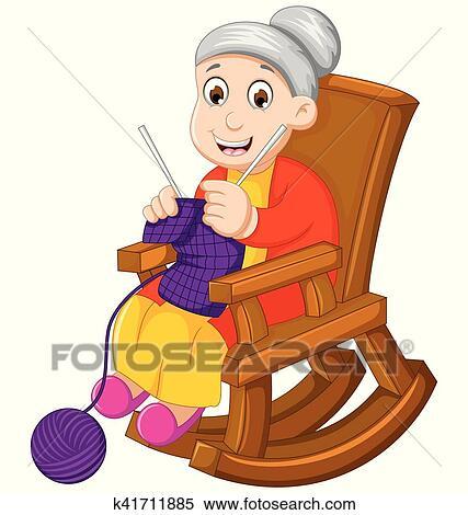 Clipart rigolote grand m re dessin anim tricot dans a fauteuil bascule k41711885 - Dessin grand mere ...