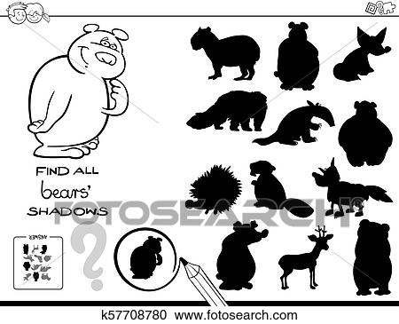 Shadow game with bears color book Clipart
