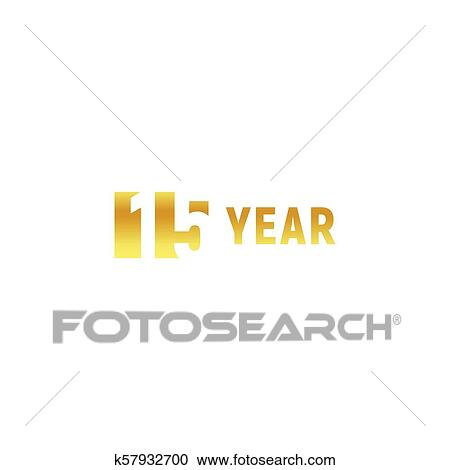 Clipart Of 15 Year Happy Birthday Gold Logo On White Background