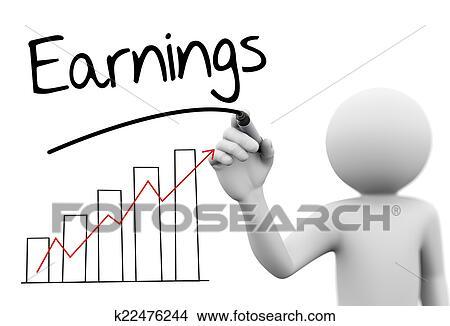 3d Person Drawing Earning Progress Bar Graph Stock Illustration