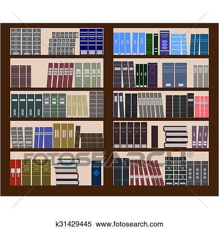 Clipart Of Bookshelf Flat Design K31429445
