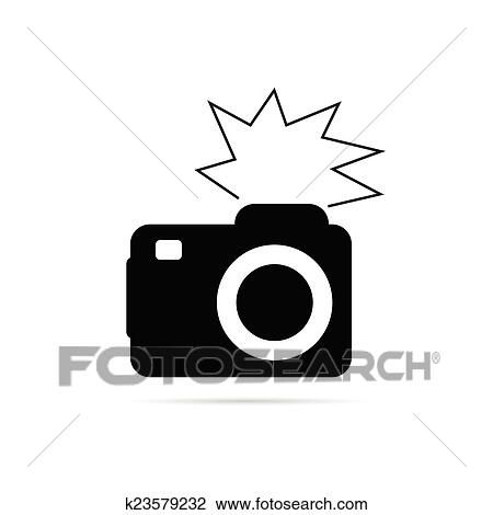 clipart of camera flash black and white vector k23579232 search rh fotosearch com Movie Camera Clip Art Old Camera Clip Art