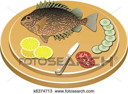 Cooked Fish And Raw Vegetables On A Board Clipart K6374713