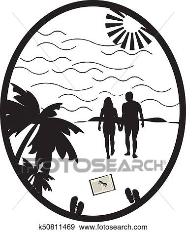 Clip Art Of Couple Holding Hands On The Beach Going On The Ocean