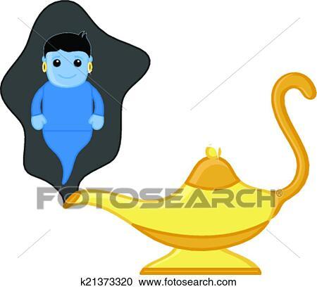 Dessin Anime Genie A Lampe Magique Clipart K21373320