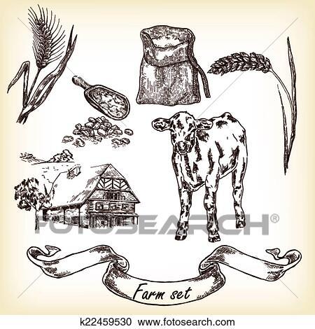Clipart Of Farm Set Hand Drawn Illustration Cow House Sack