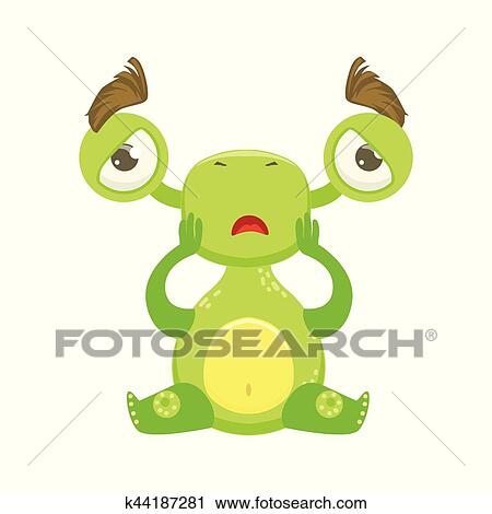 Funny Monster Sitting Upset, Green Alien Emoji Cartoon Character Sticker  Clipart