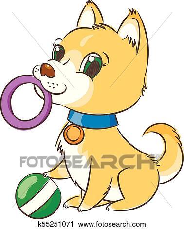 Happy Golden Cartoon Puppy Cute Little Dog Wearing Collar Clipart K55251071 Fotosearch