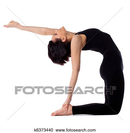 stock photography of woman back bends yoga  camel pose