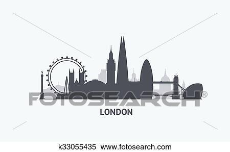 Clipart Of London Skyline Silhouette K33055435