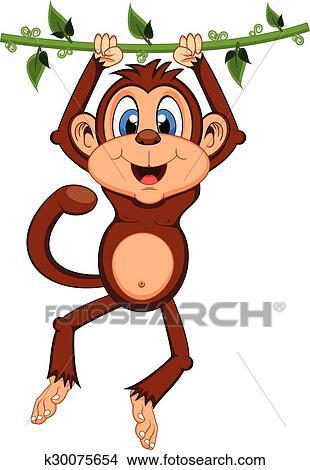 Monkey Swinging On Vines Cartoon Clipart K30075654