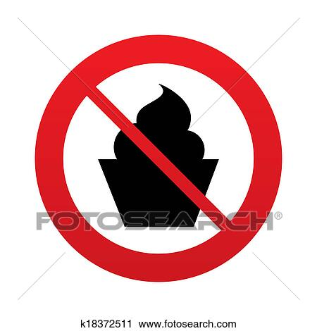 Clipart Of No Muffin Food Sign Icon Sweet Cake Symbol K18372511