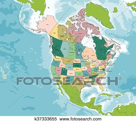 North America map with USA and Canada Clipart