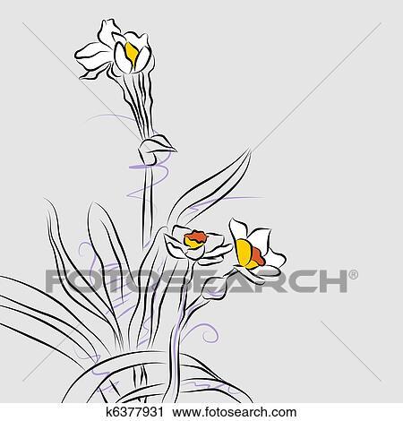 Orquidea Arranjo Flor Forre Desenho Clipart K6377931 Fotosearch