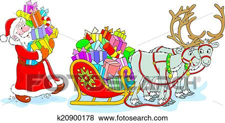 Christmas Gifts Clip Art.Santa With Christmas Gifts Clip Art
