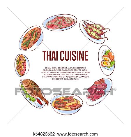 Thai cuisine poster with asian dishes Clipart | k54823532 ...