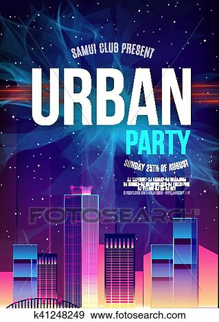 Urban Dance Party Poster Background Template - Vector Illustration Clip Art