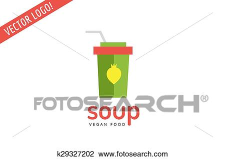 Vegan eco soup pack logo icon  Nature product, food symbol or vitamin, hot  fastfood, green, vegetables  Design element  Isolated on white  Clipart