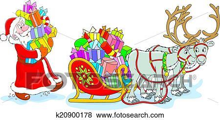Weihnachtsgeschenke Clipart.Weihnachtsmänner Mit Weihnachtsgeschenke Clip Art