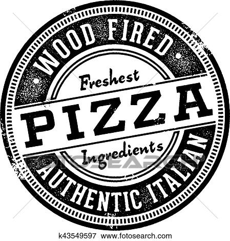 Clip Art Of Wood Fired Pizza Menu Stamp K43549597