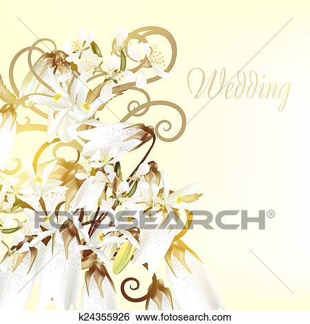 美しい 結婚式 カード で 白い花 イラスト K24355926 Fotosearch