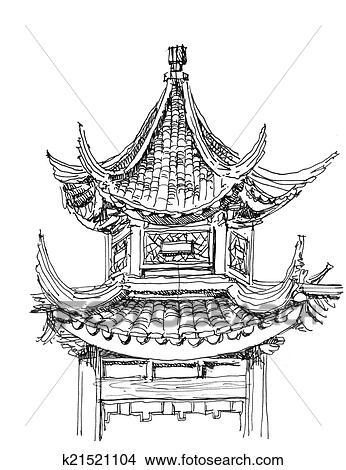 desenhos chinês templo desenho em preto branco k21521104