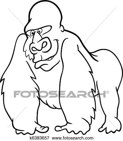 Clip Art - gorila, para, libro colorear k6383657 - Buscar Clip Art ...