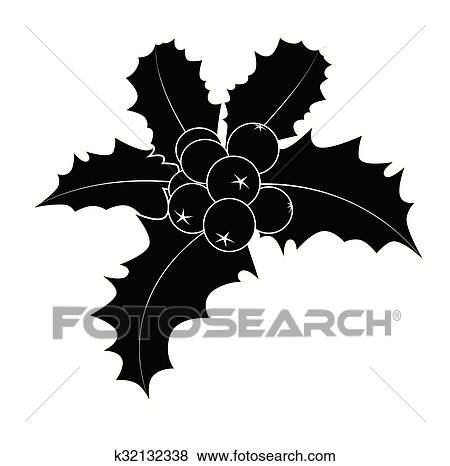 Christmas Holly Silhouette.Holly Berry Silhouette Christmas Leaves And Fruits Icon Symbol Design Winter Vector Illustration Isolated On White Background Clip Art