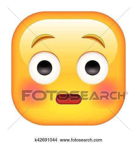 Imbarazzato Emoticon Con Allineato Testo Guance Rosse Clipart