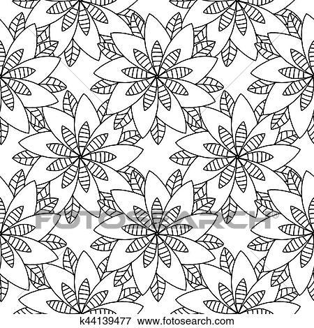 Clip Art - libro colorear, garabato, vector, flores, patrón ...