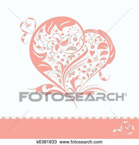 Clipart Resume Fleur Forme Coeur Invitation Carte K6381833