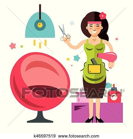Vector Beauty Salon Concept Hairdresser Flat Style Colorful Cartoon Illustration Clip Art K46597519 Fotosearch