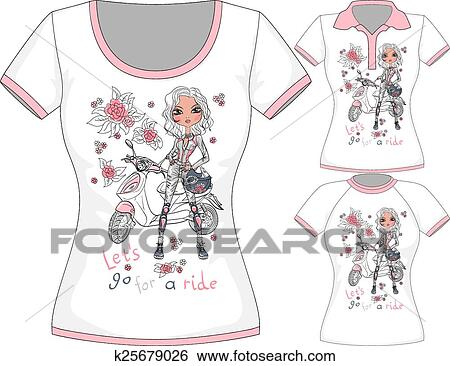 Clip Art - vektor, t-shirt, mit, mode, mädchen, und, motorroller ...