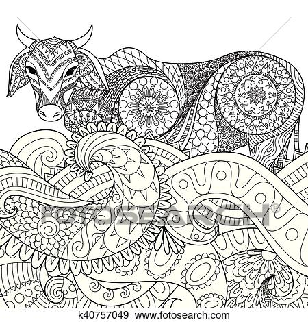 Zentangle, kuh Clip Art | k40757049 | Fotosearch