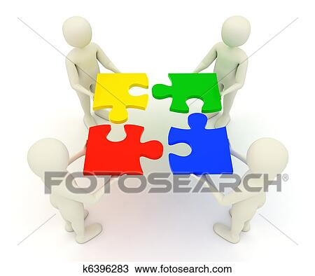 Drawing Of 3d Men Holding Assembled Jigsaw Puzzle Pieces K6396283