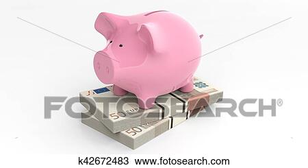 Drawing Of 3d Rendering Pink Piggy Bank On 50 Euro Banknotes