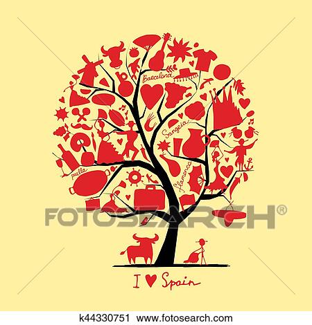 Clipart Of Art Tree With Spain Symbols For Your Design K44330751