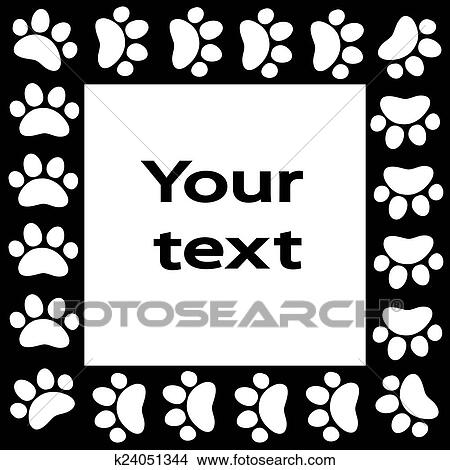 Drawings Of Cat Or Dog Paw Prints Frame For Your Text Background