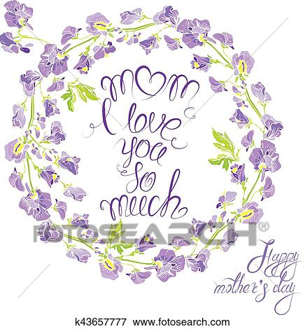 Clip Art of Decorative handdrawn floral round frame with sweet pea ...