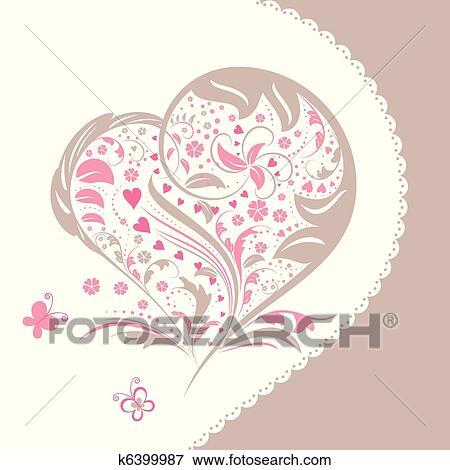 Clip Art Extracto Flor Forma Corazón Invitación Tarjeta