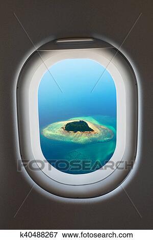 Fenêtre Avion Depuis Intérieur De Aircraft Banque D