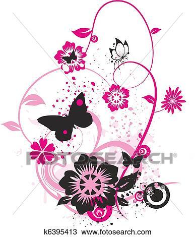 Dibujo Flores Y Mariposas K6395413 Buscar Clip Art