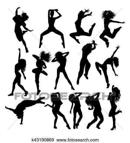Hip Hop Dancing Silhouettes Clip Art K43190869 Fotosearch