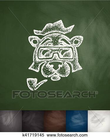 Hipster animal icon. Hand drawn vector illustration ...