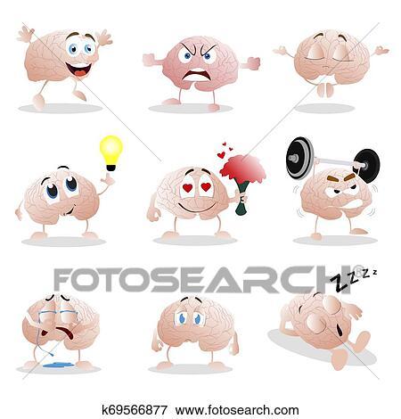 Jogo De Caricatura Cerebro Emotion Engracado Clip Grafico
