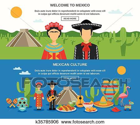 322aed67fe31 Clipart - mexique, bannière, ensemble. Fotosearch - Recherchez des  Cliparts, des Illustrations
